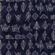 Moda - Origami - 6549 - Origami Crane, Cream on Indigo - 1470 13 - Cotton Fabric